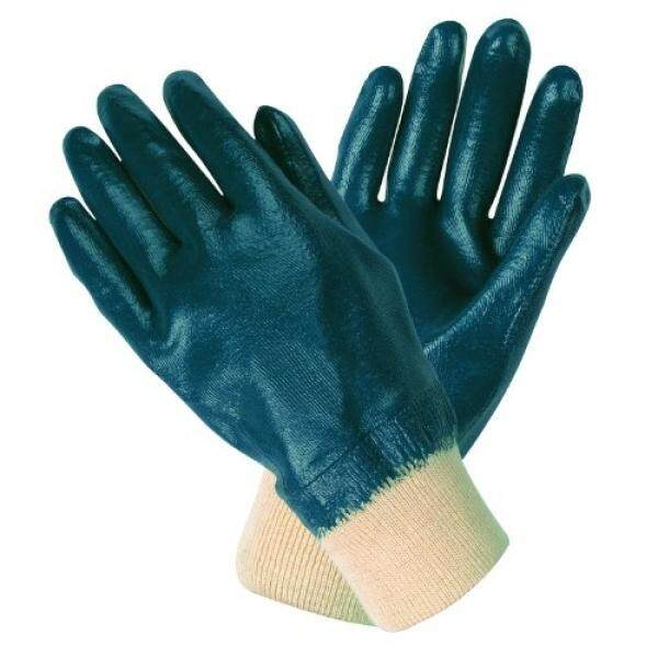 MCR Safety MCR Safety 97981L Predator Economy Fully Coated Gloves with Interlock Lined and Knitted Wrist, Blue/White, Large, 1-Pair - intl