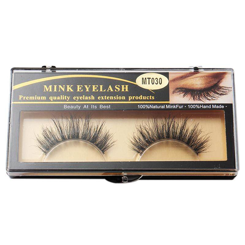 1 Pair Fashion 3d Beauty 100% Horsehair False Eyelashes Makeup Thick Long Mt030 - Intl By Sunnny2015.
