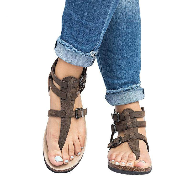 1d1fe3f01fbb 2018 Summer Sandals Women Casual Shoes Female Rome PU Leather Gladiator  Sandals Women Flat Buckle Ankle