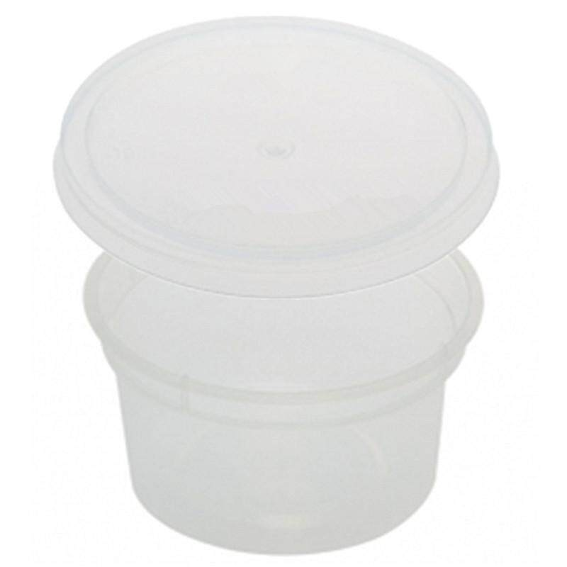 100ml PP Microwavable Round Containers With Lids Clear 10pcs