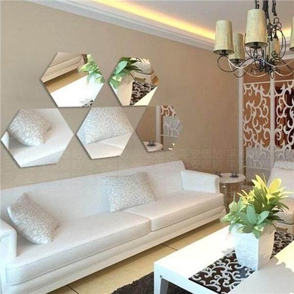Features 12 Pcs Hexagonal Cermin Akrilik Rumah Stiker Dinding