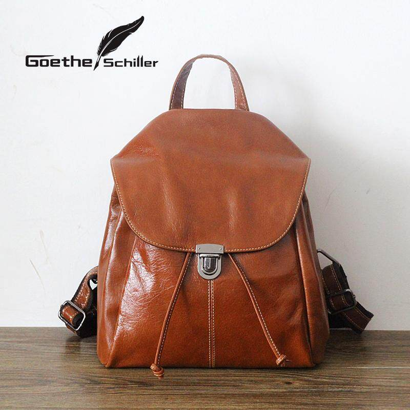 7e5ddb466c34 Backpack women Leather Handmade Vintage Leisure women bag bags Simple College  Style Import Full-grain