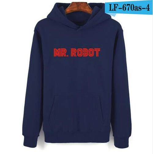 Hot Mr Robot Hitam Abu-abu Kaus Bertudung Pria Hip Hop Di Musim Dingin Hangat