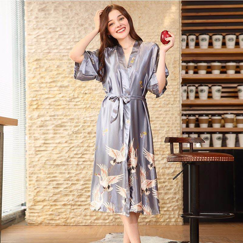 013c0587ba Spring Autumn Women Nightgown 1 2 Sleeve Nightdress Thin Pajamas Fashion  Printed Homewear Night Gown