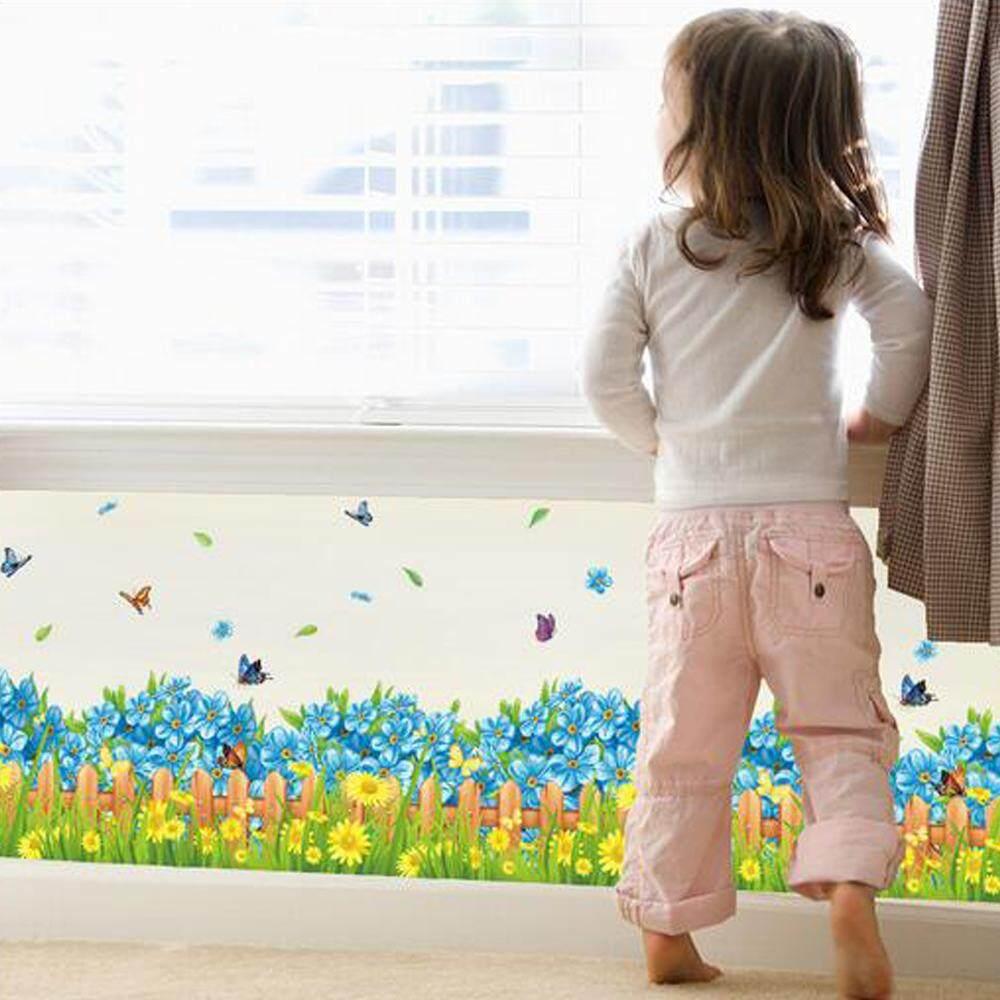 Biru Bunga Bunga Matahari Kupu-kupu PVC Pelekat Dinding DIY Stiker Kertas .