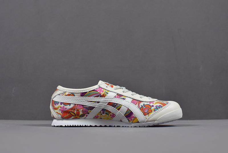 Tiger Loafer Sepatu ASIC Wanita Onisuka Olahraga Harimau Sepatu Lari MEXICO 66 Doodle Dewi Rangkaian Bunga