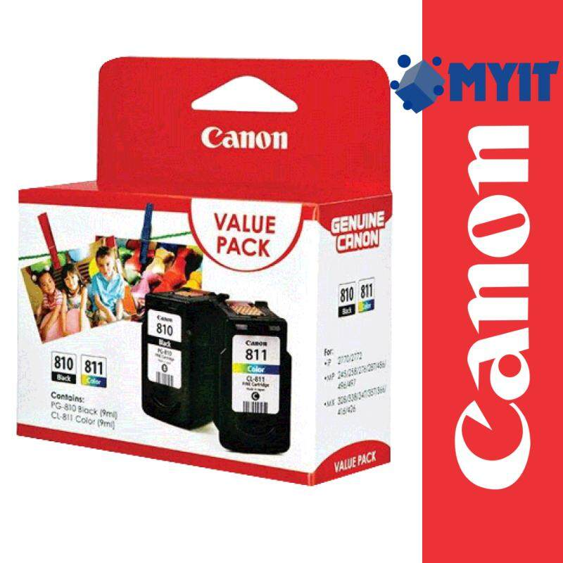 Canon Original PG-810 / CL-811 Black and Color Cartridge Combo 2 in 1 Value Pack for iP2770 iP2772 MP237 MP245 MP258 MP276 MP287 MP486 MP496 MP497 MX328 MX338 MX347 MX357 MX366 MX416 MX426 PG810 CL811