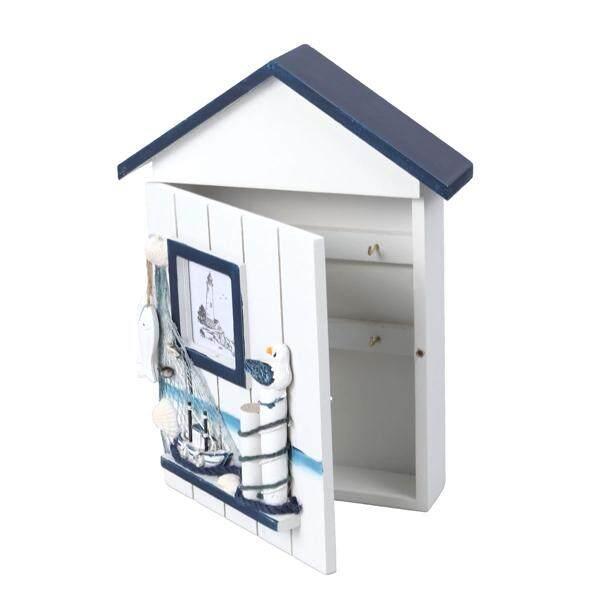 Mediterranean House Key Storage Holder Case Wall Mounted Wooden Storage Box