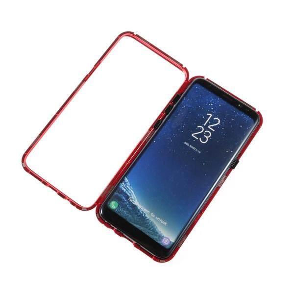 Transparan Casing Ponsel Logam Tertutup Penuh Empat Sudut Adsorpsi Magnetik Satu Detik Pembongkaran Berat Tugas Anti Guncang Anti Strach Telepon Cove untuk Samsung Galaxy S8 +