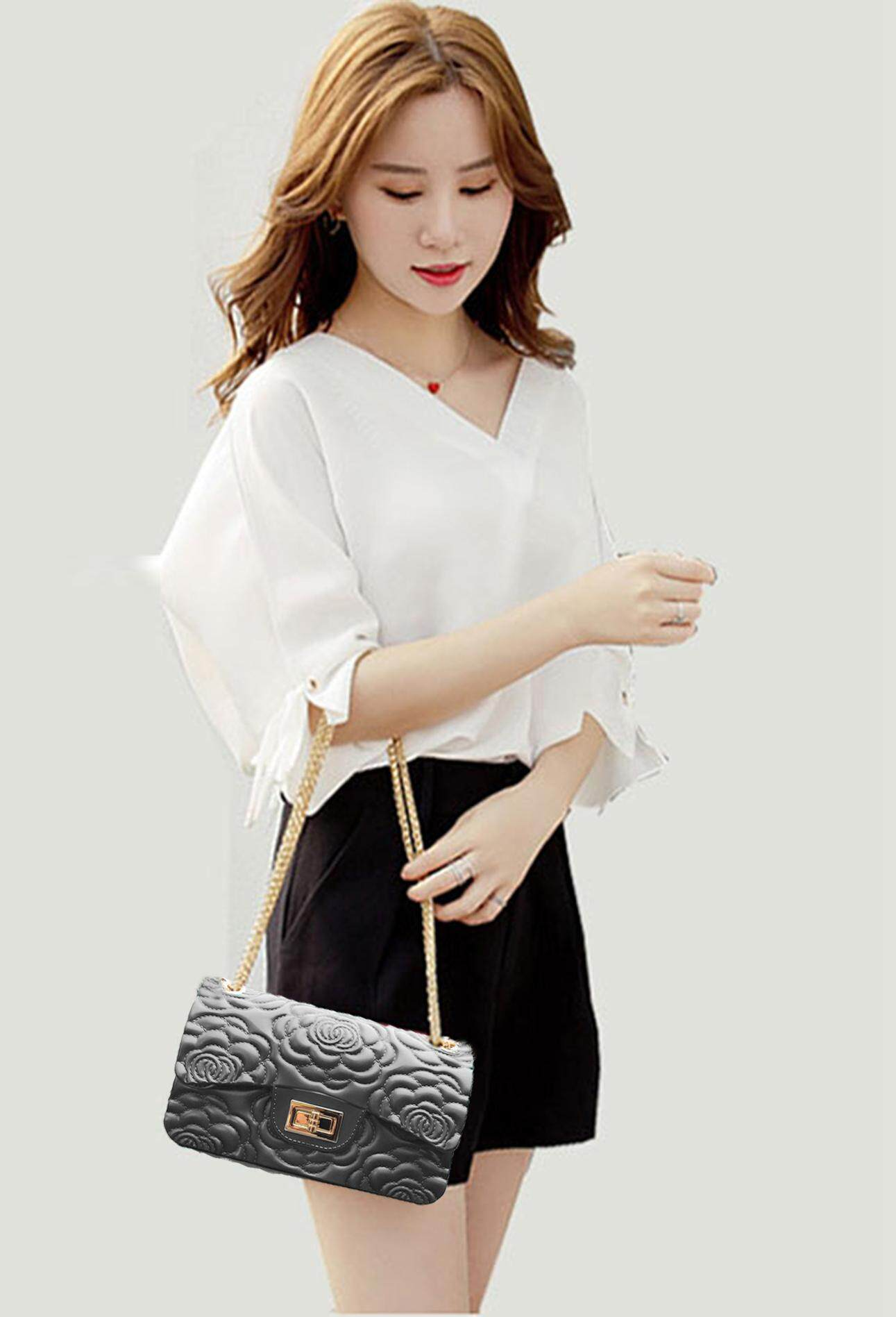 Jelly Bag Large Women Handbag Sling Bag Chain Bag Pearl Effect Rose 22cm