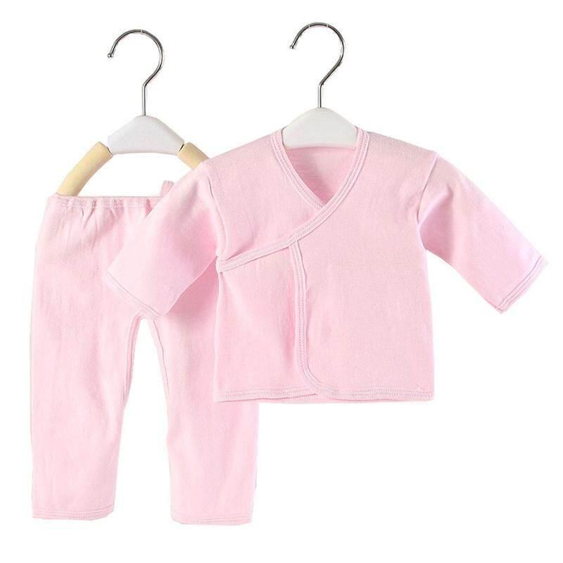 Linfang Anak Fashion Warna Murni Kapas Super Lembut Kelas Atas Pakaian 2 Pcs Set
