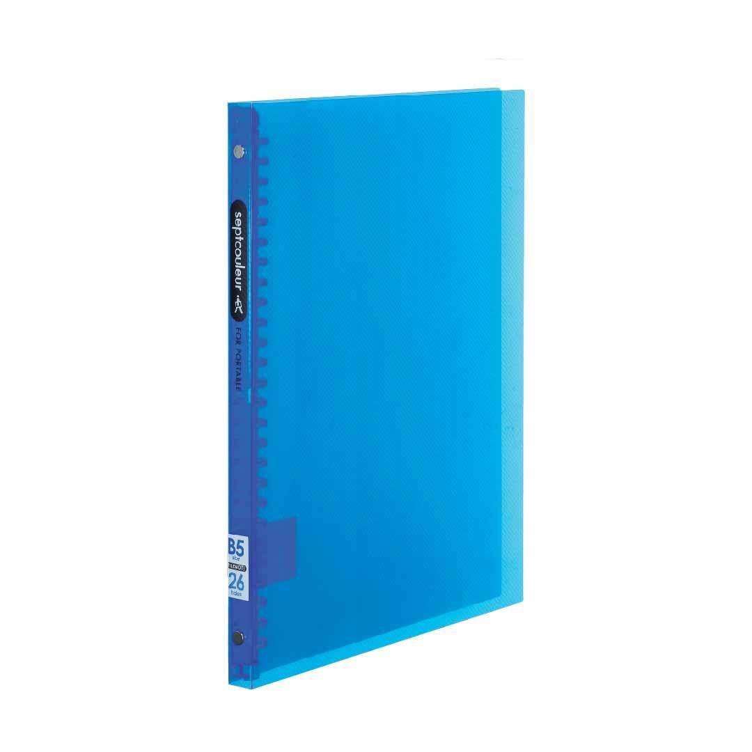 SEPT COULEUR B5, 26 Holes, 60 Sheets, 15 Spine Width - Light Blue