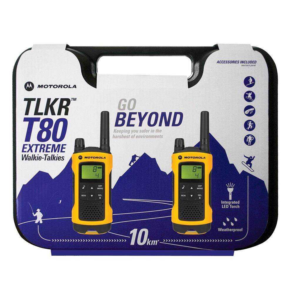 Motorola Original Walkie Talkie TLKR T80 Extreme Twin Pack 10KM Max Range IPX4 Water Resistant Integrated Light Torch