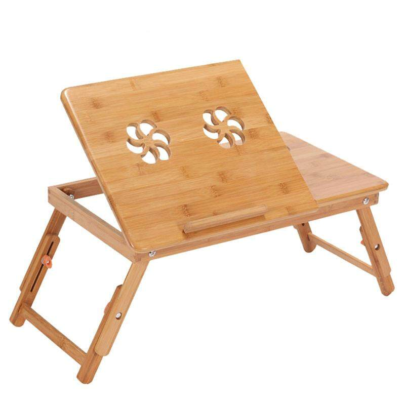 Adjustable Foldable Laptop Bamboo Laptop Notebook Table Stand Desk Glossy Bed Lap Sofa Desk Tray+Powerful Fan