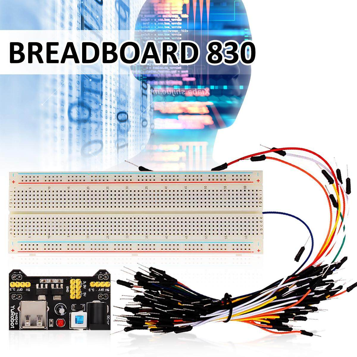 830 Holes MB102 Solderless PCB Breadboard + MB102 Power Supply Module + 65pcs Jumper Cable Wires Set Kits for Arduino