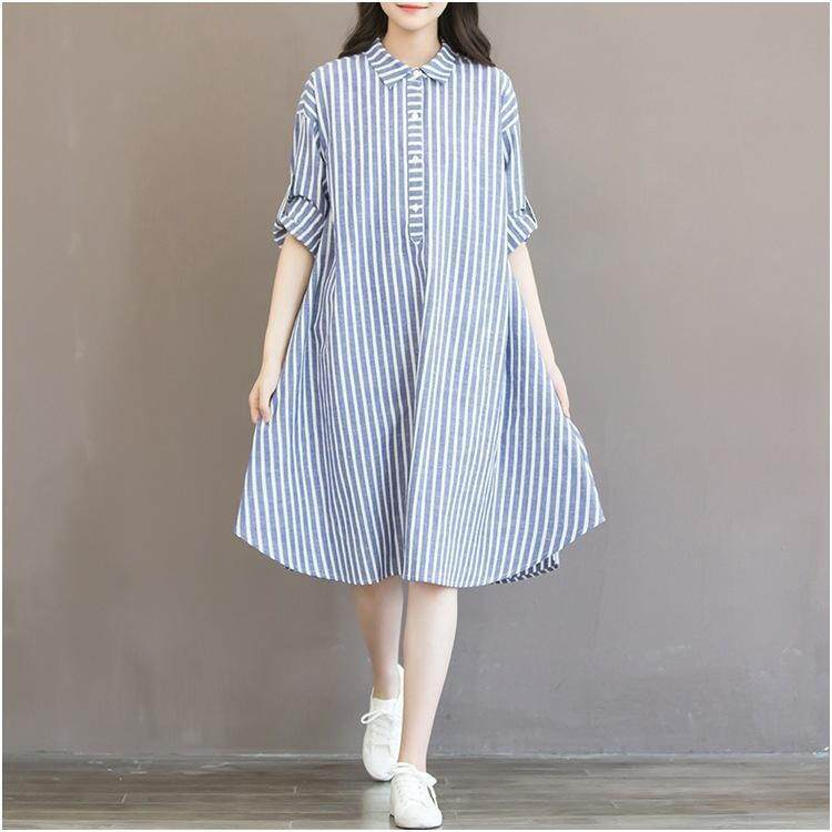 0d246a4f6c06 Fashion Women Korean Style Striped T-Shirt Skirt Long Sleeve Tie Casual  Party Loose Solid