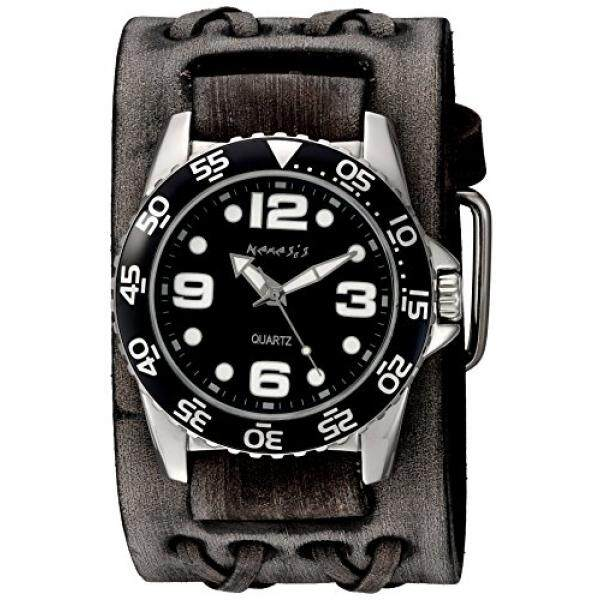 Nemesis Mens Groovy Series Quartz Stainless Steel and Leather Watch, Color:Black (Model: VDXB097K)