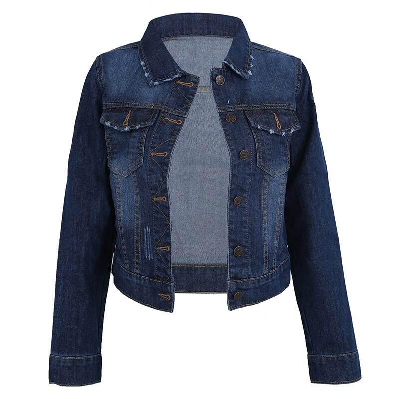 b7763a34b Women Lapel Cropped Denim Jeans Long Sleeve Jacket Coat Short Blazer Dark  Blue M
