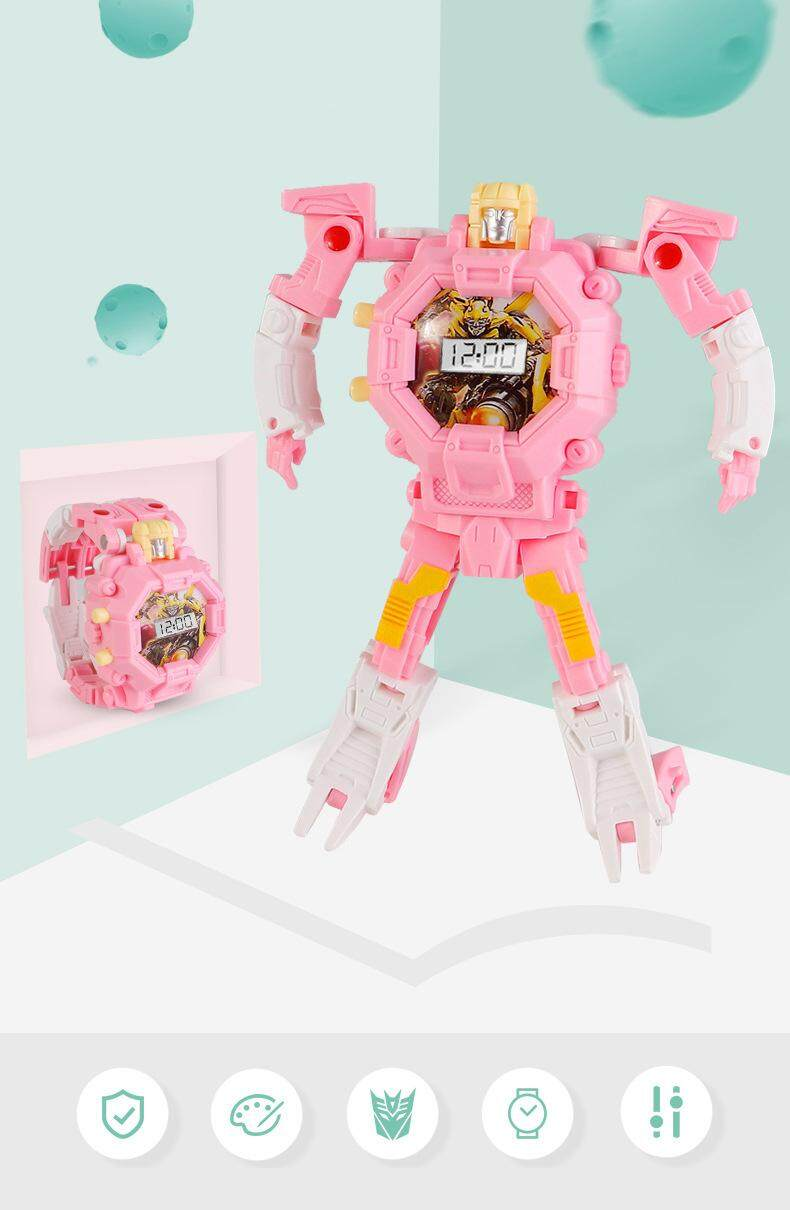 Creative Kids Wristwatch Transformation Watch Toy Electronic Robot Watch for Children Gift Deform Robot Cartoon Sport ...