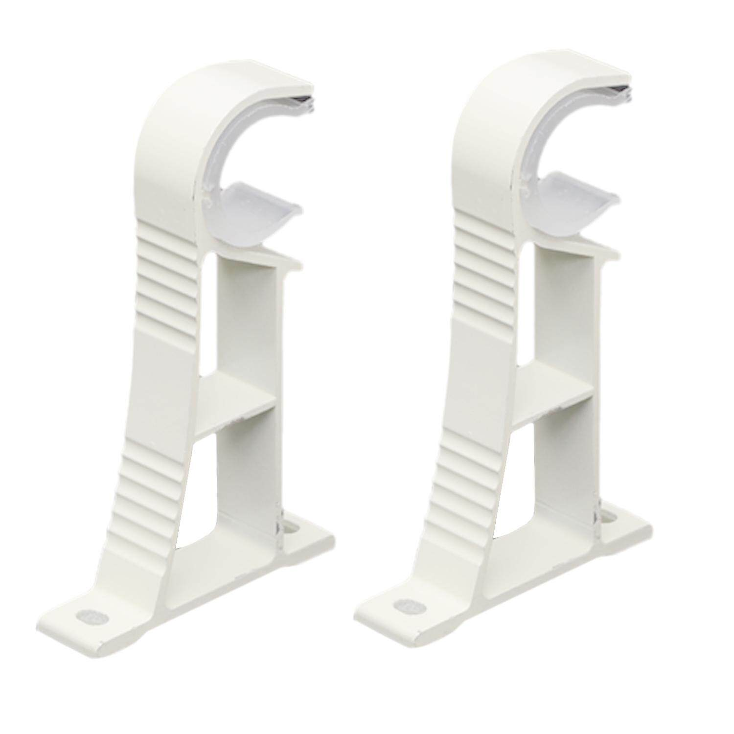2 Pcs Curtain Rod Drapery Pole Single Aluminum Alloy Bracket White By Stoneky.