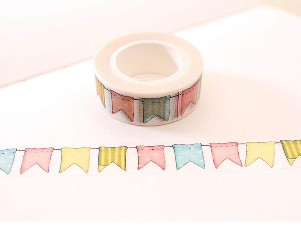 Mua Colour Flag Washi Tape DIY Decoration Scrapbooking Planner Masking Tape Adhesive Tape Kawaii Stationery - intl