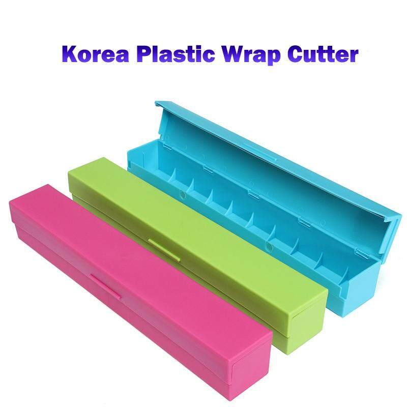 (Blue)Korea Plastic Wrap Cutter - Food Freshness Wraptastic Dispenser Preservative Film Unwinding Cutting Foil Cling Wrap Kitchen Accessories
