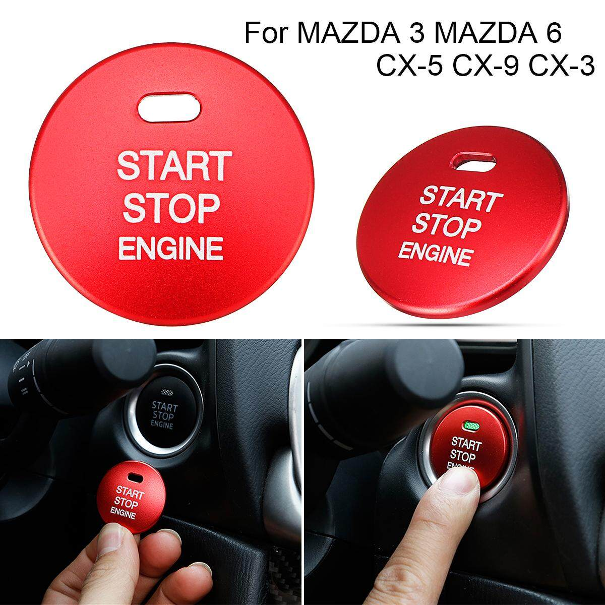 Aluminum Engine Start Button Cover Cap Trim For Mazda 3 Mazda 6 Cx-5 Cx-9 Cx-3 - Intl By Paidbang.