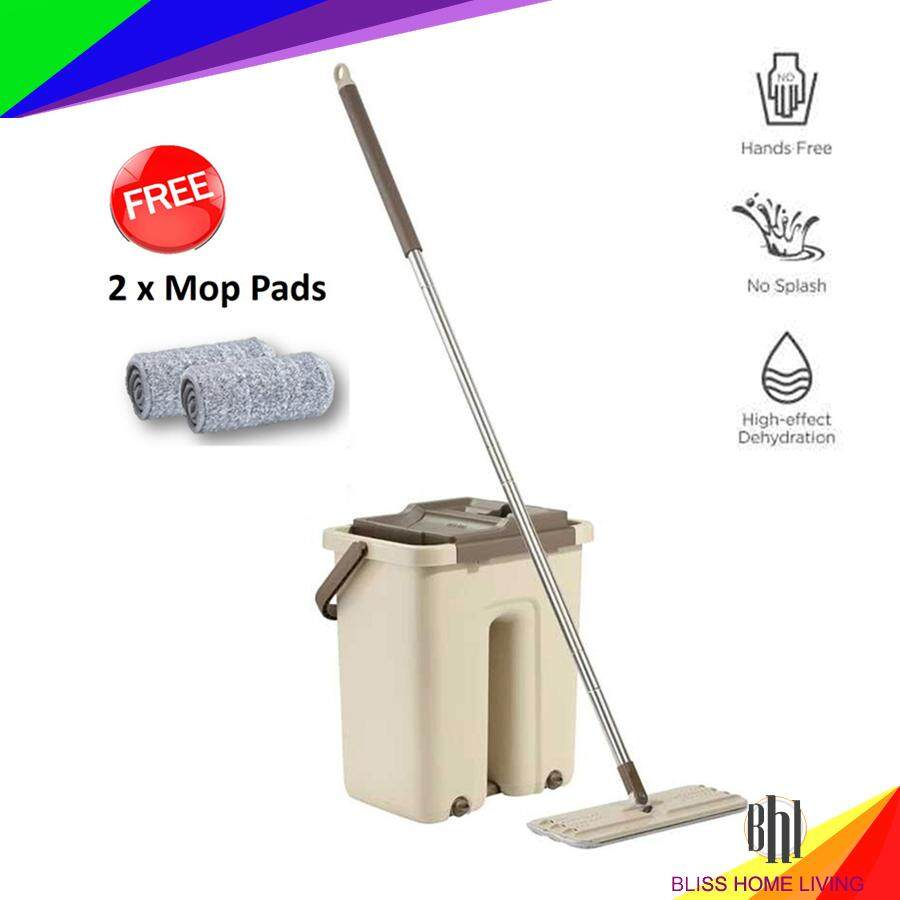 2 In 1 Scratch Mop Hands Free Wash Stainless Steel Microfiber Lazy Flat Floor Scratch Mop with 2 Mop Pads