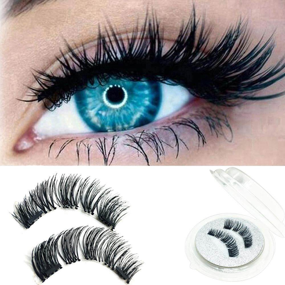 1 Pair 3d Magnetic False Eyelashes Lashes Reusable False Magnet By Lemononstore.