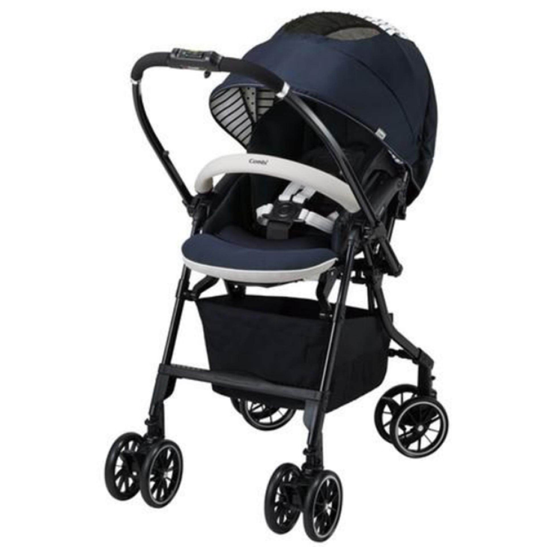 Combi Baby Stroller High Seat 55cm Auto 4 Swivel Wheels Super Light Weight Black