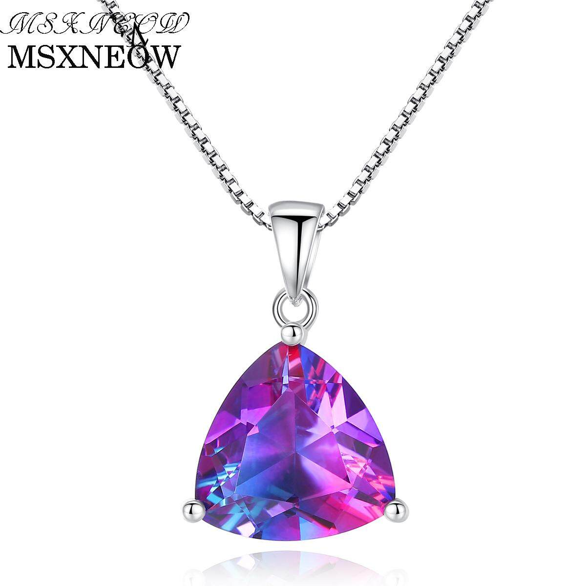 MSXNEOW 5.79ct Genuine Nature Rainbow Fire Mystic Topaz Pendant Trillion Concave Cut Pure Solid 925 Sterling Silver Necklace