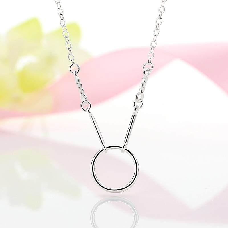 【Silver】Segar geometris bulat liontin S925 sterling silver kalung gadis rantai klavikula pendek sederhana