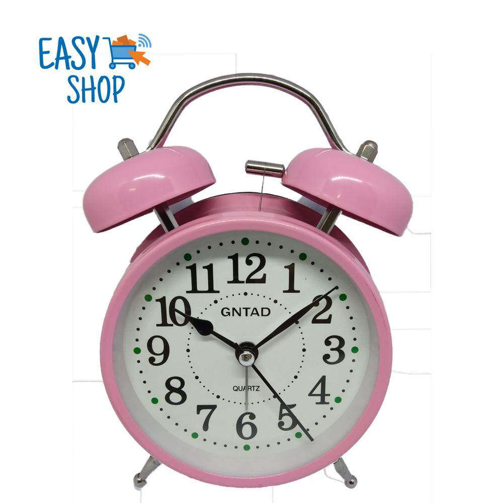 "4"" Analog Twin Bell Ringing Alarm Clock with Nightlight (Free Battery)"