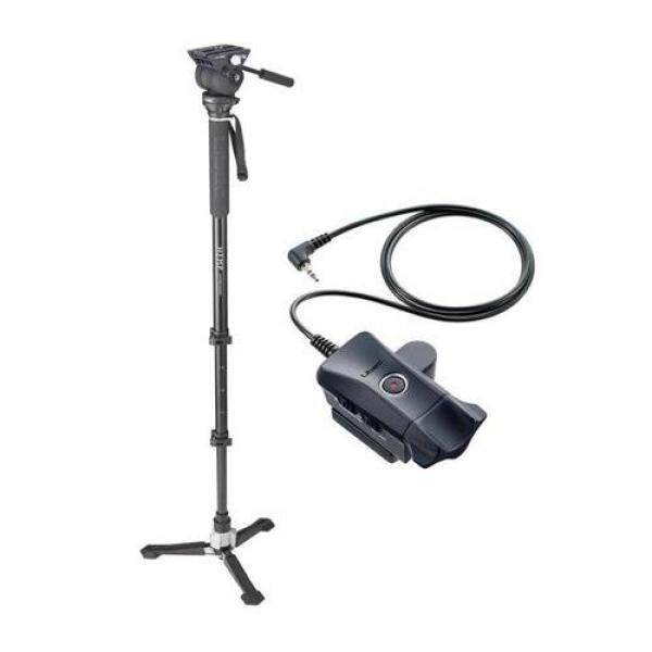 Libec Hands-Free Monopod with Dual Base Video Head and Carrying Case - With ZC-LP Zoom Control with REC Button for LANC and Panasonic Video Cameras