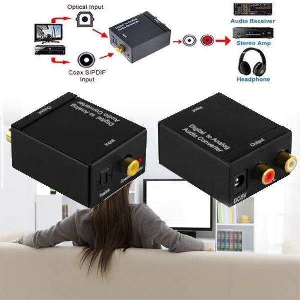 Digital Optical Coax To Analog RCA Audio Converter USB Power Line Fiber Cable Po