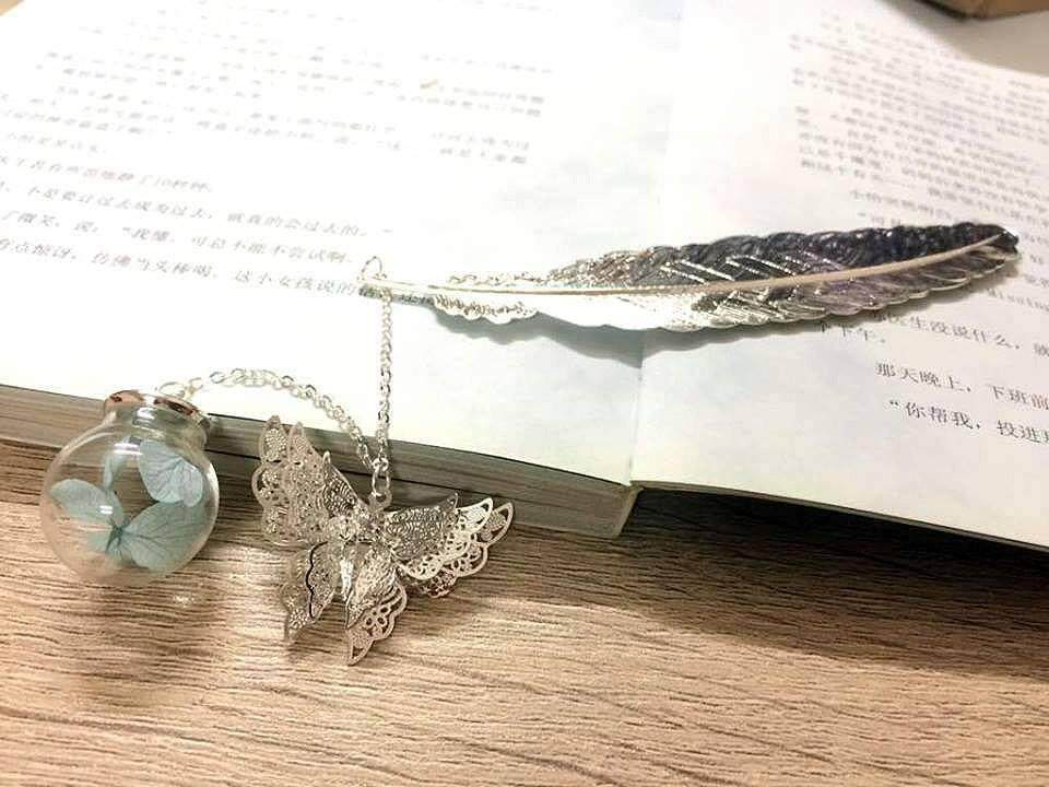 Silver Feather Bookmark With Butterfly And Blue Flower