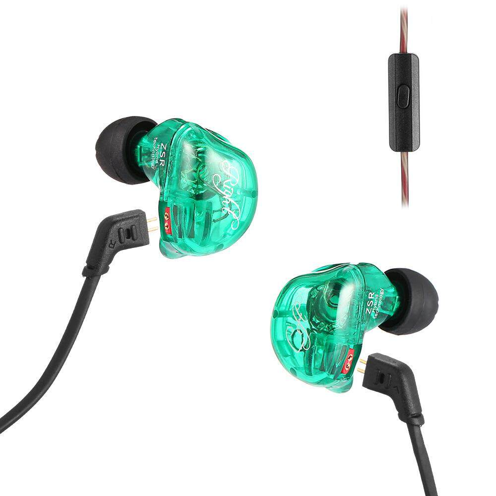 KZ ZSR Hybrid Earphones Balanced Armature with Dynamic In-ear Earbuds with mic