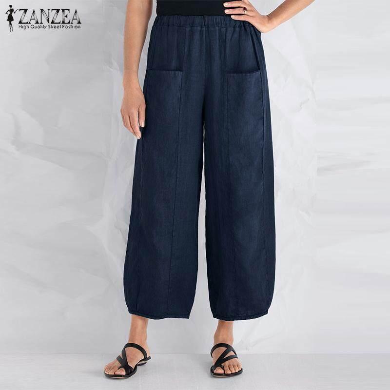 656bbd4a44 ZANZEA Women Plus Size Wide Leg Pants Culottes Solid Basic Palazzo Trousers