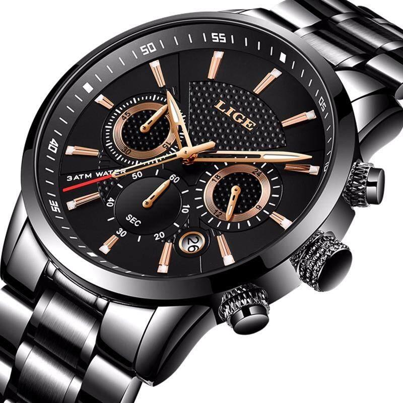 LIGE Watch Men Full Steel Waterproof Watches Chronograph Quartz Watch Sports Military Clock Male Quratz-watch Gift Box Malaysia