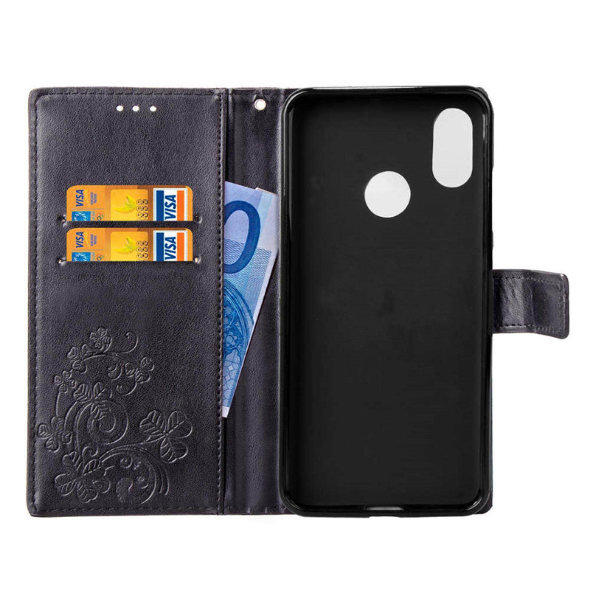 Flower Debossed Leather Flip Cover Case for Xiaomi Mi 8 - 4 .