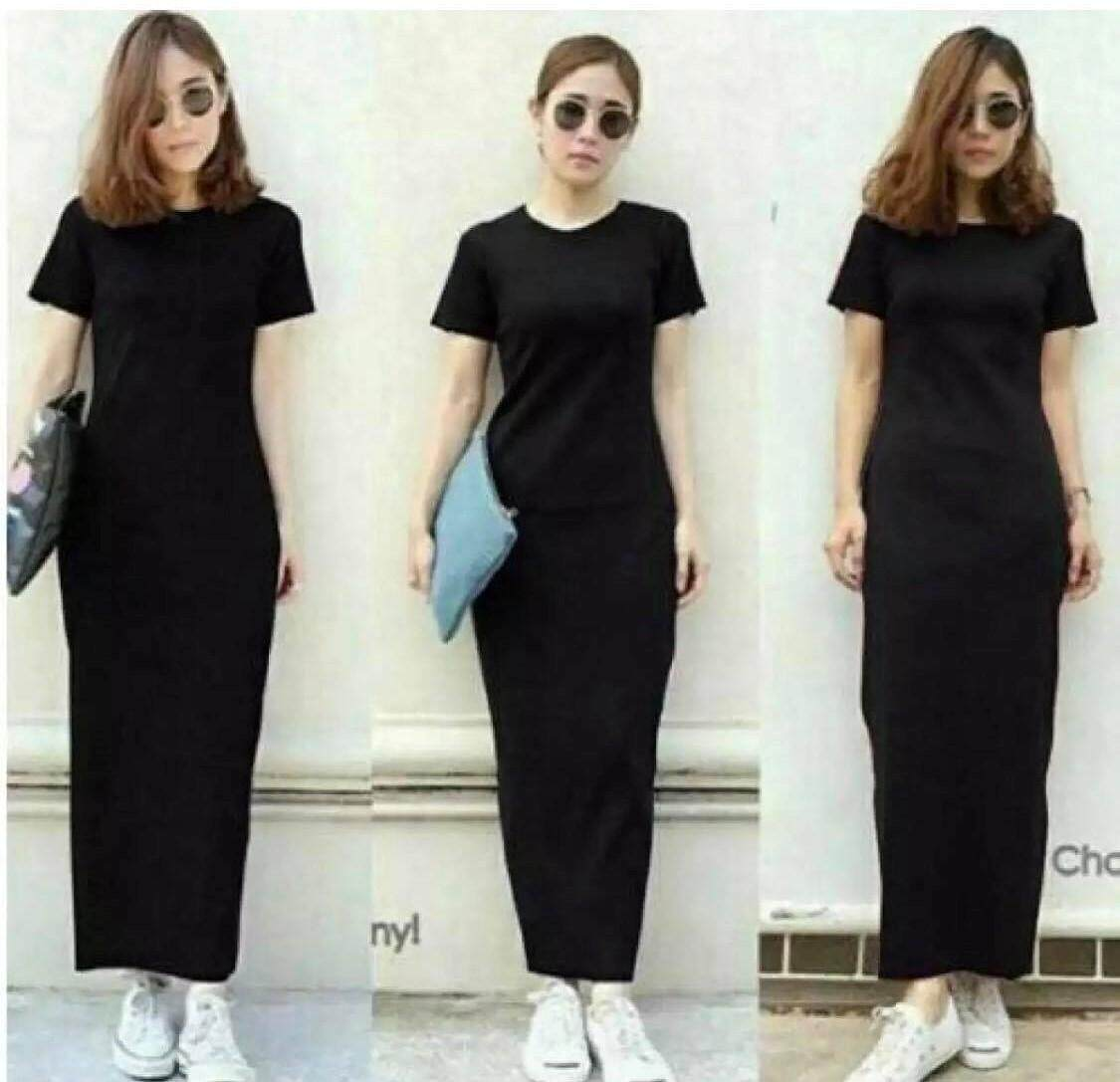 4fdee5a7af18 SyukronCollection Elsa Plain Maxy Long Dress Women No.05 - HITAM