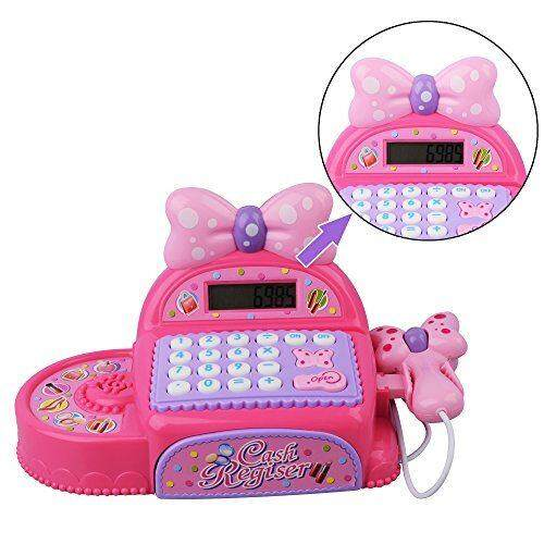 Cash Register Educational Calculator, Realistic Action Sound Kids Birthday Gift