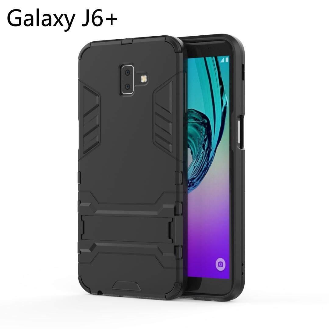 Armor Tahan Guncangan Sarung Telepon Genggam Built-In Holder Case untuk Samsung Galaxy J6 Plus