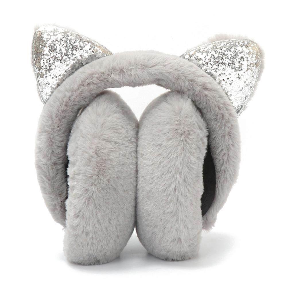 28feb4495 Futureten Women's Warm Ear Muffs, Cartoon Cat Ears Design Windproof  Foldable Plush Earmuffs for Girls