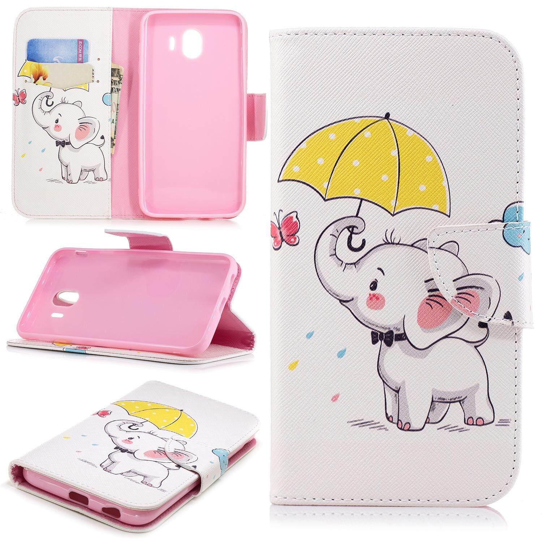 Case for Samsung Galaxy J4 2018 - Fashion Cute Cartoon Style Wallet Flip Stand PU Leather