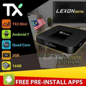 (Lexon Digital) TX3 Mini Amlogic S905W Quad Core Android 7 2GB RAM 16GB ROM Smart Android TV Set top Box Malaysia Plug (Pre-installed Malaysian Apps) Streaming Media Player