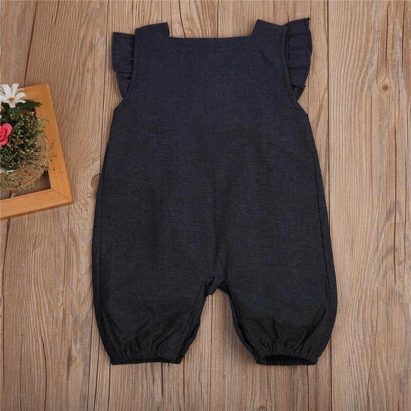 Baru Musim Panas Pakaian Bayi Romper Denim Ruffles Lengan Yang Baru Lahir Romper Bayi Setelan Luar Tubuh Setelan - 5