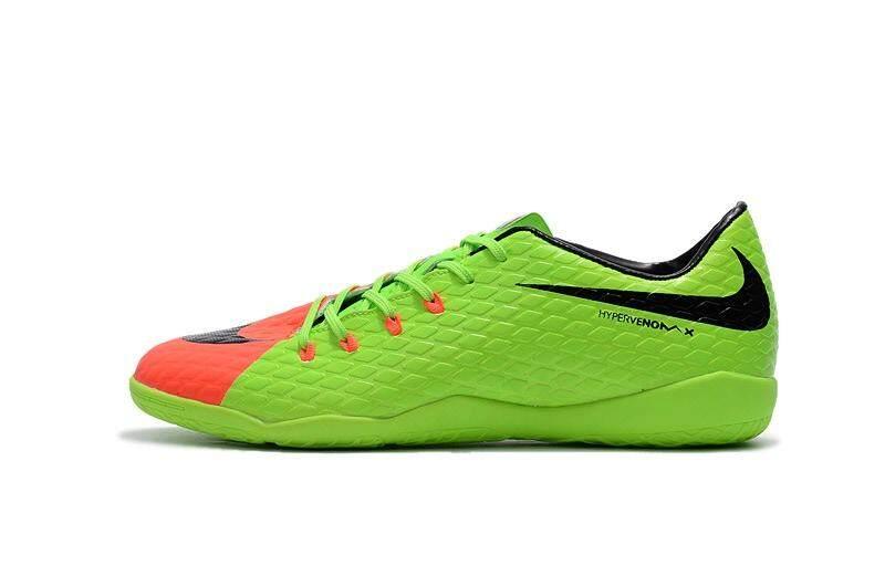 Popular Indoor Lace-up Football Shoes Hypervenom.Phantom Premium IC Low Cut Soccer Mens Size 39-45 Waterproof Football Sneakers (Green/Orange/Black) - intl