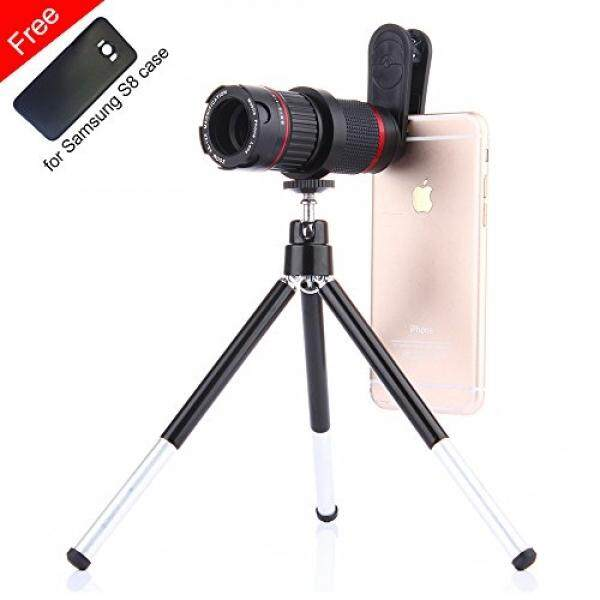 Phone Camera Lens Kit n Flexitable Tripod,Addprime Zoom 4X-12X Samsung S8 Telephoto Lens and Phone Case,0.45X Super Wide Angle Lens + 15X Macro Lens + 4X-12X Tele Lens 4 in 1 Phone Lens for Galaxy S8