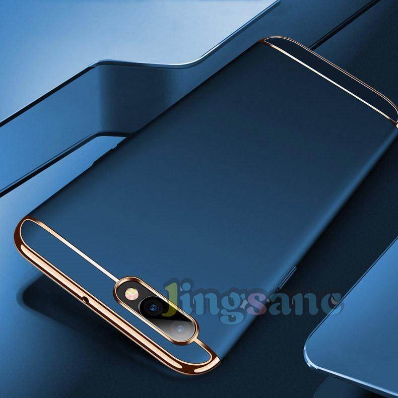 Fitur For Oppo A3s Luxury 3 In1 Design Matte Hard Pc Edge Plating